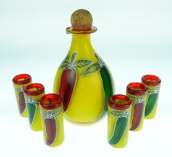 Tequila Set with 6 shot glasses hand painted red and green chilis