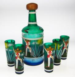 Shot Glasses Tequila Bottle Set, Agave Digger Design, Set of 5