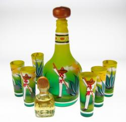 Shot Glass Tequila Bottle Set, Agave Digger Design, Green Yellow, Set of 6