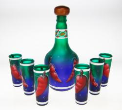 Shot Glasses and Tequila Bottle Set, Chili Design in Blue Green, Set of 6