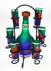 Shot Glass Tequila Bottle Set with Rack, Chili Design in Blue Green, Set of 6