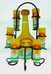 Mexican Tequila Set  -  Hand painted sun and moon yellow