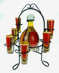 Mexican Glass Tequila Set Hand Painted Watermelon