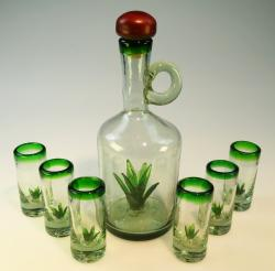 Agave Tequila Bottle Set Hand blown in Mexico 6 shots