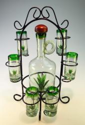 Agave Tequila Bottle Set Hand blown in Mexico 6 shots RACK