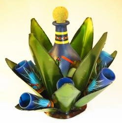 Shot Glasses and Tequila Bottle Set with Agave Rack, Blue Pancho Design