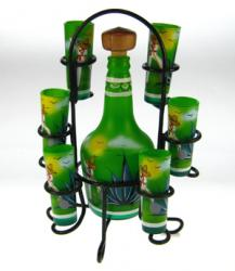 shot glasses tequila bottle set from Mexico green