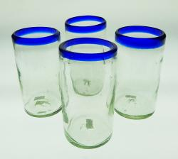 Mexican glasses Blue Rim 18oz  Set of Four