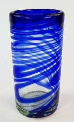 hand blown glasses from Mexico blue swirl one