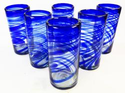 hand blown glasses from Mexico blue swirl Mexican six