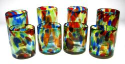 Mexican glass, confetti swirl, set of Four 16 oz. and Four 12 oz. Multi Color design, Eight (8) piece set