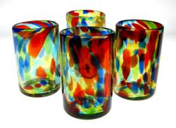 Mexican Glass Liquid Confetti Swirl 16 oz set of 4