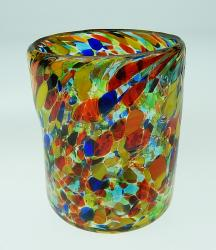 Drinking glass, multicolored Confetti, pinched 12oz