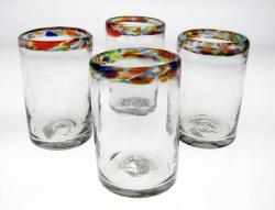 Confetti Rim Drinking Glasses, 10oz, Set of 4