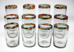 Drinking Glasses, Confetti Rim, 10oz 16oz 20oz, Set of 12