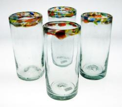 Drinking Glasses, Confetti Rim, 20oz, Set of Four (4).