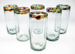 Drinking Glasses, Confetti Rim, 20oz, Set of Six