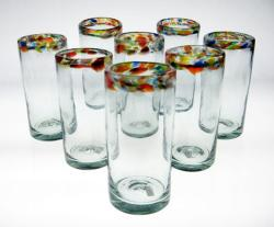 Drinking Glasses, Confetti Rim, 20oz, Set of 8