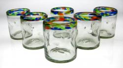 Mexican glasses drinking tumblers confetti rim pinch