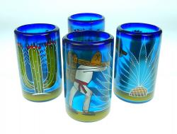 Mexican Glass tumblers 16 oz set of four  hand painted with agave, saguaro, poncho