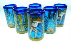 Mexican Glass tumblers 16 oz set of six hand painted with agave and saguaro cactus, Poncho