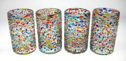 Tumblers 4 glasses, Pebble confetti, 16 oz