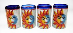 Painted Sun and Moon Drinking Glasses, Set of Four