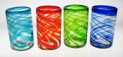 Drinking Glasses, Mixed Swirl, 16oz, Set of 4
