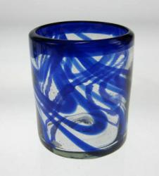 Mexican Drinking Glass Blue Swirl tumbler, 10 oz