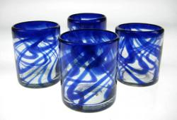 Drinking Glasses, Blue Swirl, 12oz, Set of 4