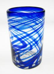blue swirl glass made in Mexico 16oz
