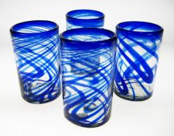 blue swirl glasses made in Mexico 16oz