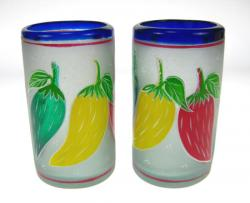 hand painted Mexican glasses with chilis