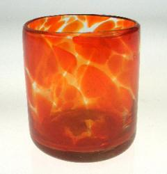 Mexican glass drinking tumbler orange swirl Mexico