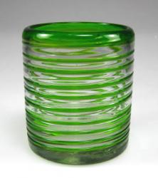 Mexican Drinking glass Green Spiral Tumbler, 10oz