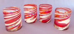 Red & White Swirl Tumblers  set of four 12 oz Mexican blown glass