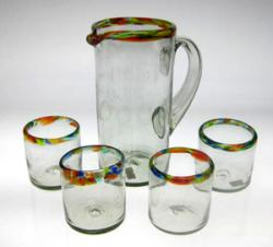 Set of Four(4) Confetti Rim Glasses with matching Pitcher