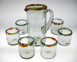 Mexican glass Confetti Rim matching Pitcher 10 oz