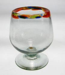 Brandy or Cognac snifter hand blown confetti rim from Mexico