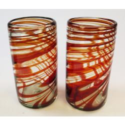 Drinking Glasses, Red Swirl, 20oz, Set of 2