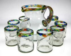 Mexican glass confetti rim tumblers pitcher 8
