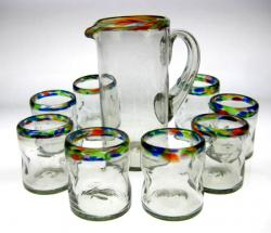 Mexican glass Confetti Rim Pinched tumblers matching pitcher