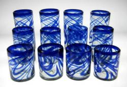 Mexican drinking glasses blue swirl 3 sizes