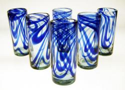 Tall Blue Swirl Drinking Glasses, Set of Six