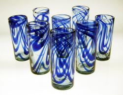 Tall Blue Swirl Drinking Glass, Set of 8