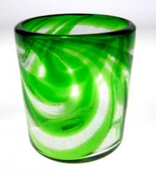 Mexican Drinking Glass Green Swirl Tumbler, 12oz