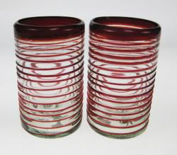 Drinking Glasses, Red Spiral Rim, 18oz, set of 2