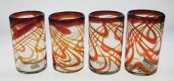 Drinking Glasses, Red Swirl, 16oz, Set of 4