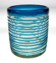 Mexican glass turquoise aqua marine drinking glass 10oz size