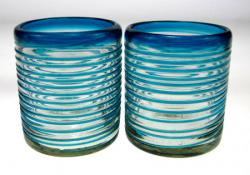 Mexican glass turquoise aqua marine drinking glass 10oz set of 2